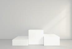 Κενό άσπρο δωμάτιο με ένα βάθρο για την παρουσίαση τρισδιάστατη απόδοση Στοκ Εικόνα