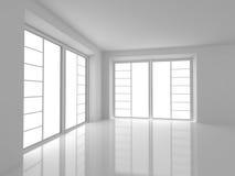 Κενό άσπρο δωμάτιο με τα μεγάλα παράθυρα Στοκ φωτογραφία με δικαίωμα ελεύθερης χρήσης