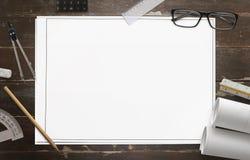 Κενό έγγραφο για το σχεδιασμό του κατασκευαστικού προγράμματος Στοκ φωτογραφίες με δικαίωμα ελεύθερης χρήσης