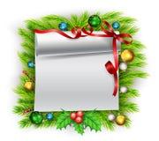 Κενό έγγραφο με τη διακόσμηση Χριστουγέννων Στοκ Εικόνες