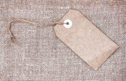 Κενό αναδρομικό ύφος ετικεττών sackcloth Στοκ φωτογραφία με δικαίωμα ελεύθερης χρήσης