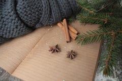 Κενό ανοικτό σημειωματάριο, χριστουγεννιάτικο δέντρο, χιόνι, μελόψωμο, Στοκ φωτογραφίες με δικαίωμα ελεύθερης χρήσης