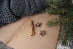 Κενό ανοικτό σημειωματάριο, χριστουγεννιάτικο δέντρο, χιόνι, μελόψωμο, Στοκ Εικόνα