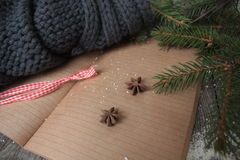 Κενό ανοικτό σημειωματάριο, χριστουγεννιάτικο δέντρο, χιόνι, μελόψωμο, Στοκ Εικόνες