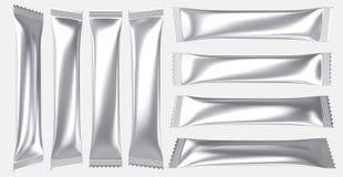 Κενό ασημένιο ποτό σκονών πλαστικών τσαντών φύλλων αλουμινίου ελεύθερη απεικόνιση δικαιώματος