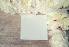 Κενό για μια κάρτα με το πλαίσιο των άσπρων λουλουδιών ξύλινο boa Στοκ Φωτογραφία