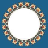 Κενό για το σχέδιο Στρογγυλό διακοσμητικό πλαίσιο με την εθνική διακόσμηση Τρύγος ύφους ζωηρόχρωμη απεικόνιση απεικόνιση αποθεμάτων