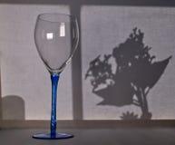 Κενό γυαλί κρασιού μπροστά από ένα γραπτό παράθυρο και μια floral σκιαγραφία στοκ φωτογραφία