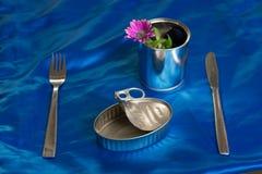 Κενό δοχείο κασσίτερου σαρδελλών με τίποτα για να φάει μαζί ένα δίκρανο, μαχαίρι στοκ εικόνες