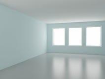 κενό δωμάτιο τρία Windows Στοκ Φωτογραφία
