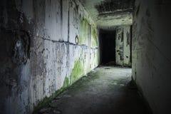 Κενό εγκαταλειμμένο εσωτερικό αποθηκών με το μαύρο τέλος Στοκ Φωτογραφίες