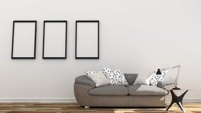 Κενό εσωτερικό, καναπές στο άσπρο δωμάτιο απεικόνιση αποθεμάτων