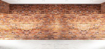 Κενό εσωτερικό με τους τουβλότοιχους, αψίδες του φωτός από το παράθυρο τρισδιάστατη απόδοση διανυσματική απεικόνιση