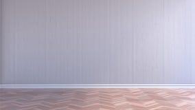 Κενό εσωτερικό δωμάτιο με τον άσπρο ξύλινο τοίχο και το ξύλινο πάτωμα παρκέ στοκ εικόνα