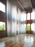 Κενό εσωτερικό δωματίων με τις αγροτικές εμφάσεις και τις κουρτίνες διανυσματική απεικόνιση