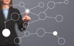 Κενό διάγραμμα ροής σχεδίων χεριών επιχειρηματιών στο νέο σύγχρονο comput στοκ εικόνα