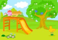 Κενό διάνυσμα παιδικών χαρών χωρών κινούμενων σχεδίων διανυσματική απεικόνιση