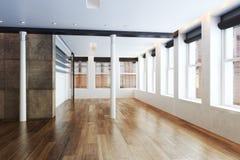 Κενό διαμέρισμα πολυόροφων κτιρίων με το εσωτερικό έμφασης στηλών Στοκ εικόνες με δικαίωμα ελεύθερης χρήσης