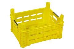 Κενό κίτρινο κλουβί, που απομονώνεται στο λευκό στοκ εικόνες με δικαίωμα ελεύθερης χρήσης