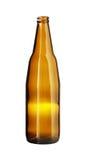 Κενό καφετί μπουκάλι μπύρας που απομονώνεται στο άσπρο υπόβαθρο στοκ φωτογραφίες