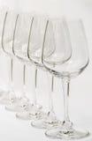 κενό κρασί σειρών γυαλιών Στοκ εικόνες με δικαίωμα ελεύθερης χρήσης