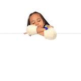 κενό λευκό ύπνου κοριτσιών χαρτονιών Στοκ φωτογραφία με δικαίωμα ελεύθερης χρήσης