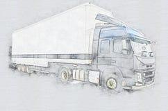 κενό λευκό truck φορτηγών απεικόνιση αποθεμάτων