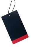 Κενό μαύρο κόκκινο χαρτονιού πώλησης διακριτικό λωρίδων ετικετών τιμών ετικεττών κενό, απομονωμένο μεγάλο λεπτομερές μακρο διάστη Στοκ Φωτογραφία