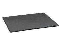 Κενό μαύρο πιάτο πλακών που απομονώνεται Στοκ φωτογραφία με δικαίωμα ελεύθερης χρήσης