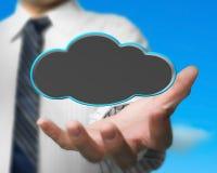 Κενό μαύρο σύννεφο εκμετάλλευσης επιχειρηματιών με το υπόβαθρο ουρανού φύσης Στοκ εικόνες με δικαίωμα ελεύθερης χρήσης