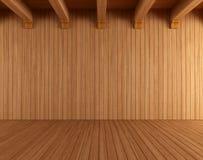 Κενό ξύλινο δωμάτιο με τις ανώτατες ακτίνες Στοκ εικόνα με δικαίωμα ελεύθερης χρήσης