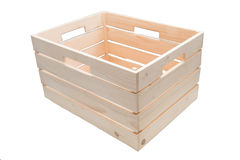 Κενό ξύλινο κιβώτιο στον άσπρο πίνακα Στοκ Εικόνες