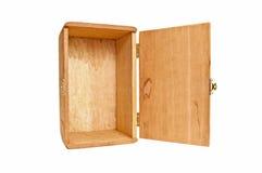 Κενό ξύλινο κιβώτιο στο τέλος με την αρθρωμένη πόρτα ανοικτή Στοκ Εικόνα