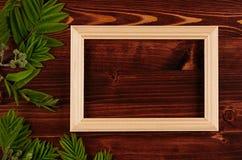 Κενό ξύλινο πλαίσιο φωτογραφιών και νέα πράσινα φύλλα στον εκλεκτής ποιότητας καφετή ξύλινο πίνακα Στοκ Εικόνα