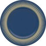 Κενό πιάτο αργίλου πορσελάνης με το διακοσμητικό πλαίσιο Στοκ Φωτογραφίες