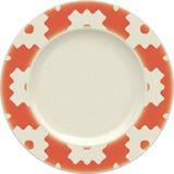 Κενό πιάτο αργίλου πορσελάνης με το διακοσμητικό πλαίσιο Στοκ εικόνα με δικαίωμα ελεύθερης χρήσης
