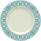 Κενό πιάτο αργίλου πορσελάνης με το διακοσμητικό πλαίσιο Στοκ Εικόνα