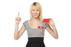 κενό πιστωτικό κορίτσι καρτών Στοκ Φωτογραφία