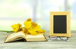 Κενό πλαίσιο με μια ανθοδέσμη των κίτρινων λουλουδιών σε ένα παλαιό ανοιγμένο boo στοκ φωτογραφία με δικαίωμα ελεύθερης χρήσης
