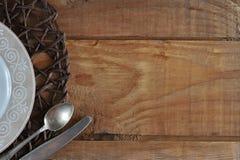 Κενό πρότυπο για το σύνθεση-πιάτο, το μαχαίρι και το κουτάλι τροφίμων Στοκ εικόνες με δικαίωμα ελεύθερης χρήσης