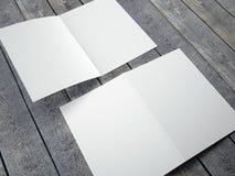 Κενό πρότυπο του διπλωμένου μεγέθους φυλλάδιων A4 Στοκ Φωτογραφία