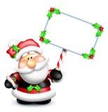 Κενό σημάδι εκμετάλλευσης Santa κινούμενων σχεδίων Στοκ εικόνα με δικαίωμα ελεύθερης χρήσης