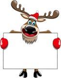 Κενό σημάδι πινάκων διαφημίσεων Χριστουγέννων ταράνδων Στοκ Εικόνες