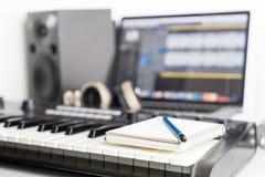 Κενό σημειωματάριο στο στούντιο μουσικής Στοκ Εικόνα
