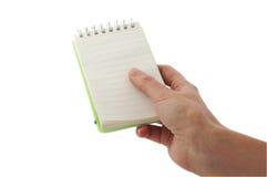 κενό σημειωματάριο χεριών Στοκ φωτογραφίες με δικαίωμα ελεύθερης χρήσης
