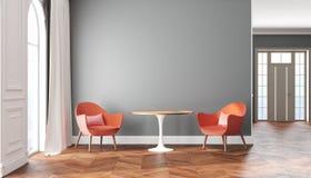 Κενό Σκανδιναβικό εσωτερικό δωματίων με τους γκρίζους τοίχους, τις κόκκινες, ρόδινες πολυθρόνες, τον πίνακα, την κουρτίνα και το  Στοκ εικόνες με δικαίωμα ελεύθερης χρήσης