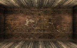 Κενό σκοτεινό παλαιό εγκαταλειμμένο εσωτερικό δωματίων με τον παλαιό ραγισμένο τουβλότοιχο και το παλαιό πάτωμα σκληρού ξύλου Στοκ Εικόνες