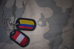 κενό στρατού, ετικέττα σκυλιών με τη σημαία της Κολομβίας και του Περού στο χακί υπόβαθρο σύστασης Στοκ εικόνα με δικαίωμα ελεύθερης χρήσης