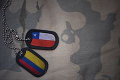 κενό στρατού, ετικέττα σκυλιών με τη σημαία της Χιλής και της Κολομβίας στο χακί υπόβαθρο σύστασης Στοκ εικόνα με δικαίωμα ελεύθερης χρήσης