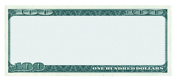 Κενό σχέδιο τραπεζογραμματίων 100 δολαρίων που απομονώνεται στο λευκό Στοκ Εικόνες